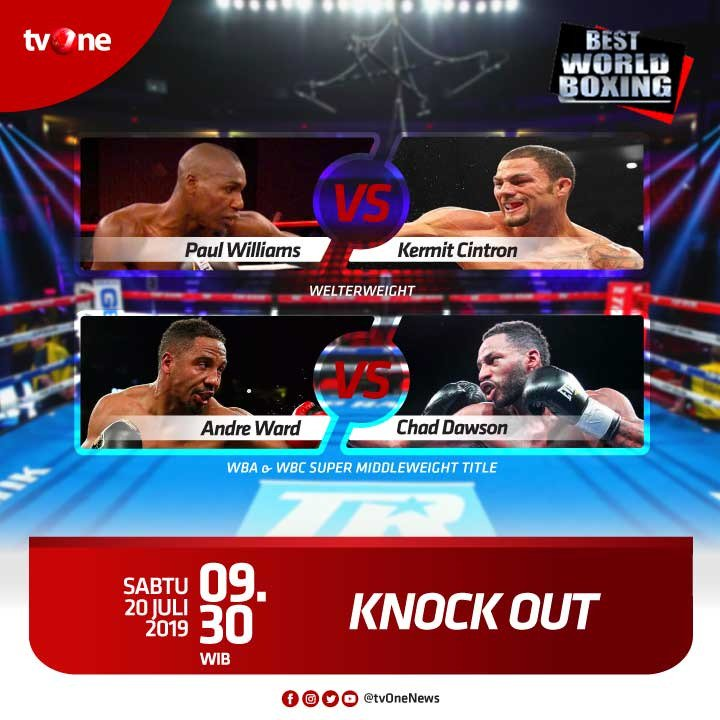 Jangan lewatkan Best World Boxing: Knock Out. WBA & WBC Super Middleweight Title, antara Andre Ward & Chad Dawson. Sabtu, 20 Juli 2019 jam 09.30 WIB di tvOne & streaming di tvOne Connect http://bit.ly/2CMmL5z. #tvOneSports