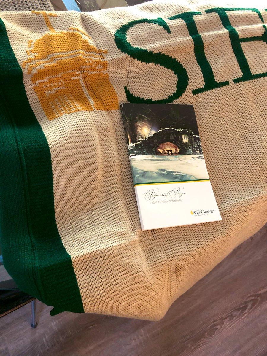 Thank you @SienaCollege for the awesome blanket for reading & terrific book of #prayers for #colleen and I #grateful