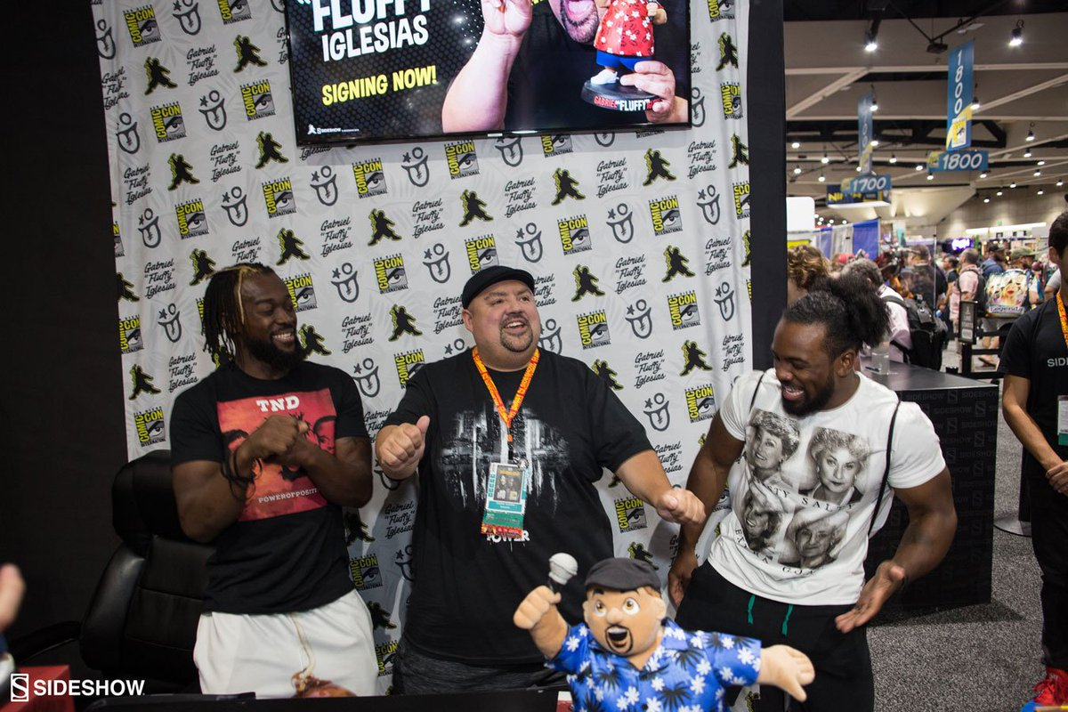 @XavierWoodsPhD and @TrueKofi stopped by our booth to hang out with @fluffyguy!  #SideshowCollectibles #SideshowSDCC19 #SDCC19 #ComicCon19