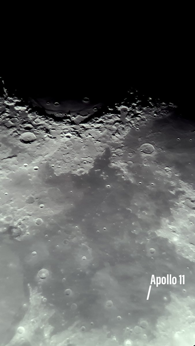 """Close up of the #Moon with the #Apollo11 landing site, captured with a #GalaxyS8 7mm eyepiece and Celestron 8"""" from #Johannesburg 2019.07.20 #Apollo50 #astrophotography"""