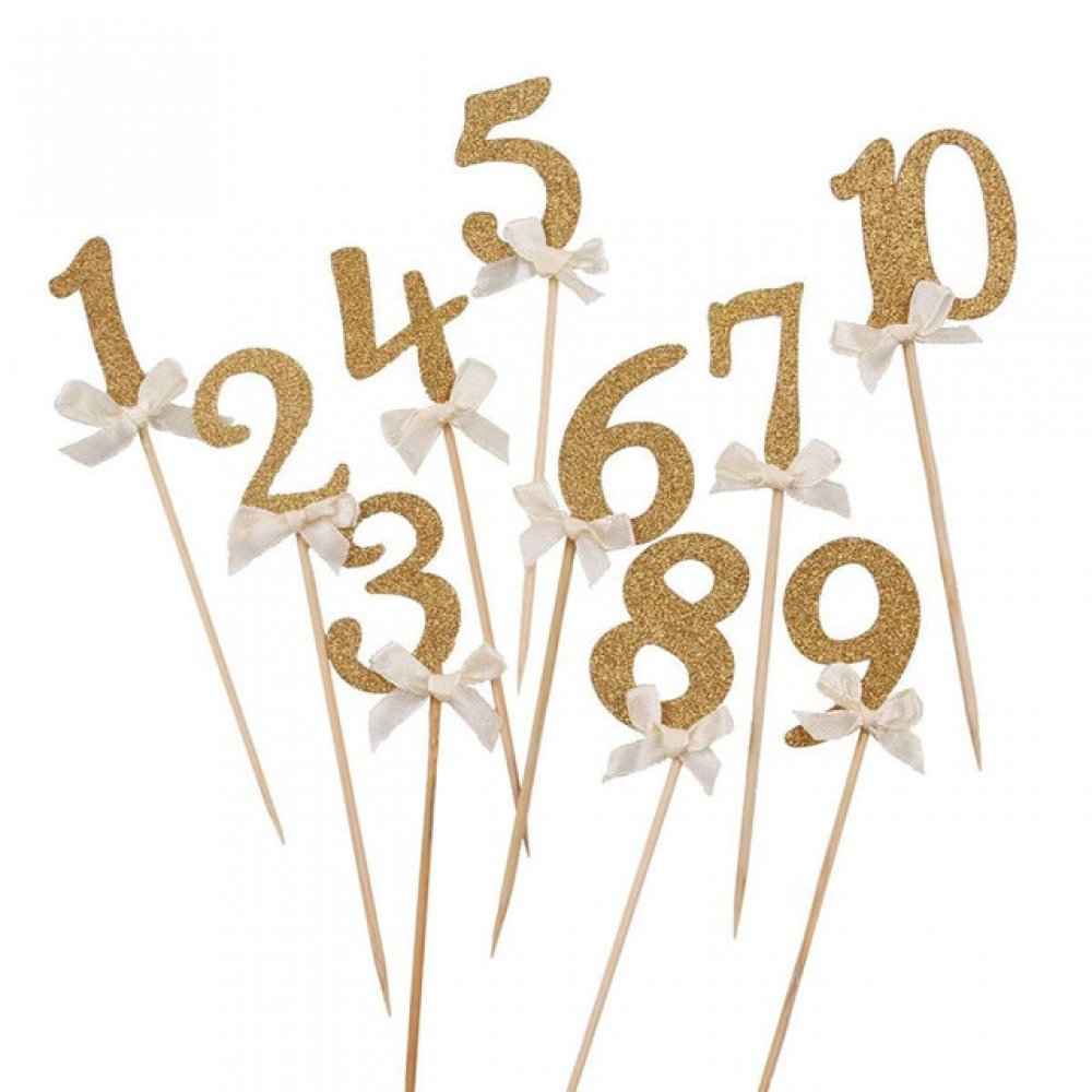 #memories #fashion Gold Glitter Number Shaped Cake Toppers