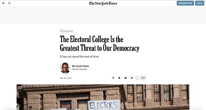 """""""《纽时》的专栏文章:""""选举人团制度,是美国民主的最大威胁""""。"""""""