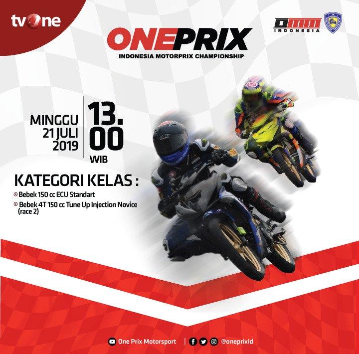 Saksikan OnePrix Indonesia Motorprix Championship, ajang balap motor paling bergengsi.Minggu, 21 Juli 2019 jam 13.00 WIB hanya di tvOne & streaming tvOne connect, android http://bit.ly/2EMxVdm & ios http://apple.co/2CPK6U3#OnePrix #OnePrix2019
