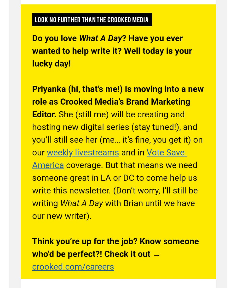 Listen, I'm SUPER happy for @priaribi moving to a @crookedmedia brand marketing gig, but What A Day is quite literally the only newsletter I read immediately upon receipt; education and work inboxes included. Good luck, new person. <br>http://pic.twitter.com/JnLyBgz2Nm
