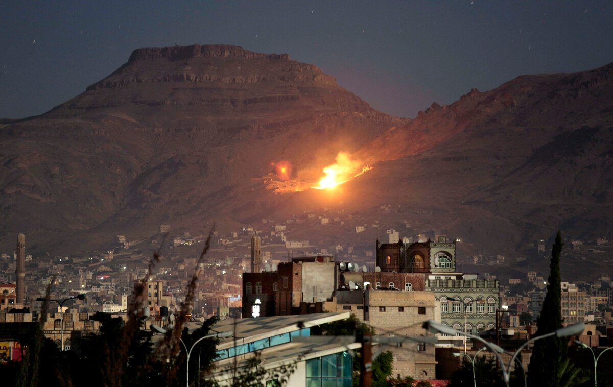 While the people around the sleeping  world on an ergonomic beds or watching TV on thier comfortable couch, in #Yemen we wake up paniced and scared by a terrifying sounds of  series of air strikes  at 3:00AM.. #Sanaa under attack .<br>http://pic.twitter.com/Yl7KJMRQii