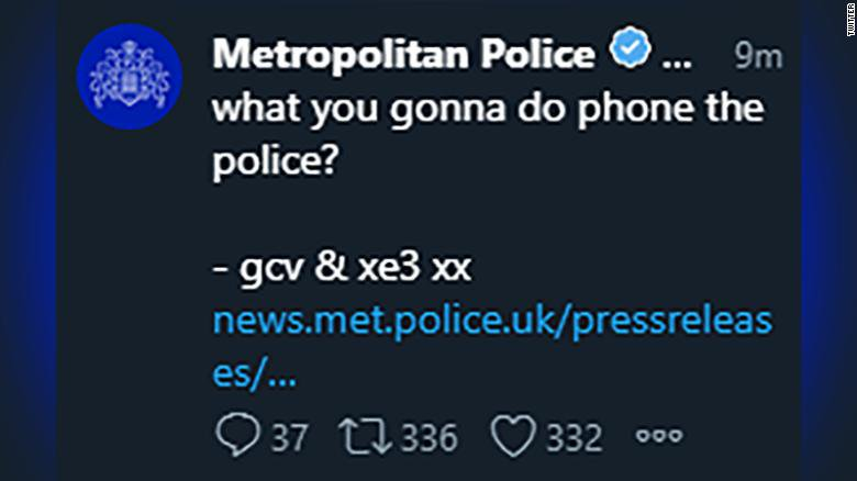 Hackers took over the Twitter account of London's Metropolitan Police Service and issued tweets that made unusual announcements scattered with profanity. The police later regained control of the account. https://cnn.it/2JVYsUV