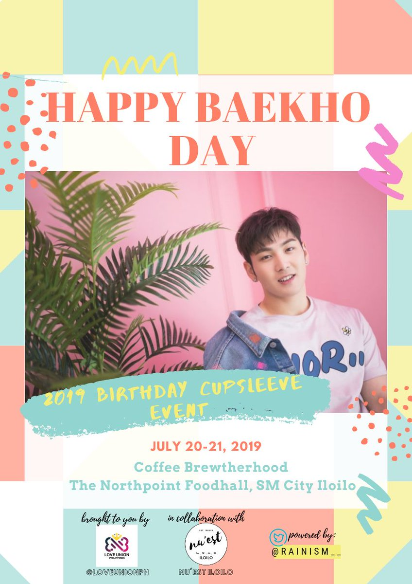 It's DAY1 ILOILO LOVEs!   BAEKHO BIRTHDAY CUPSLEEVE EVENT  Coffee Brewtherhood,  The Northpoint - SM City Iloilo  July 20-21, 2019  Don't forget to post your messages & snaps for our Baekho   #HAPPY_BAEKHO_DAY #다정한_나의여름_백호야_생일축하해  #LOVE_FOR_BAEKHO <br>http://pic.twitter.com/C8Fu5JNPo9