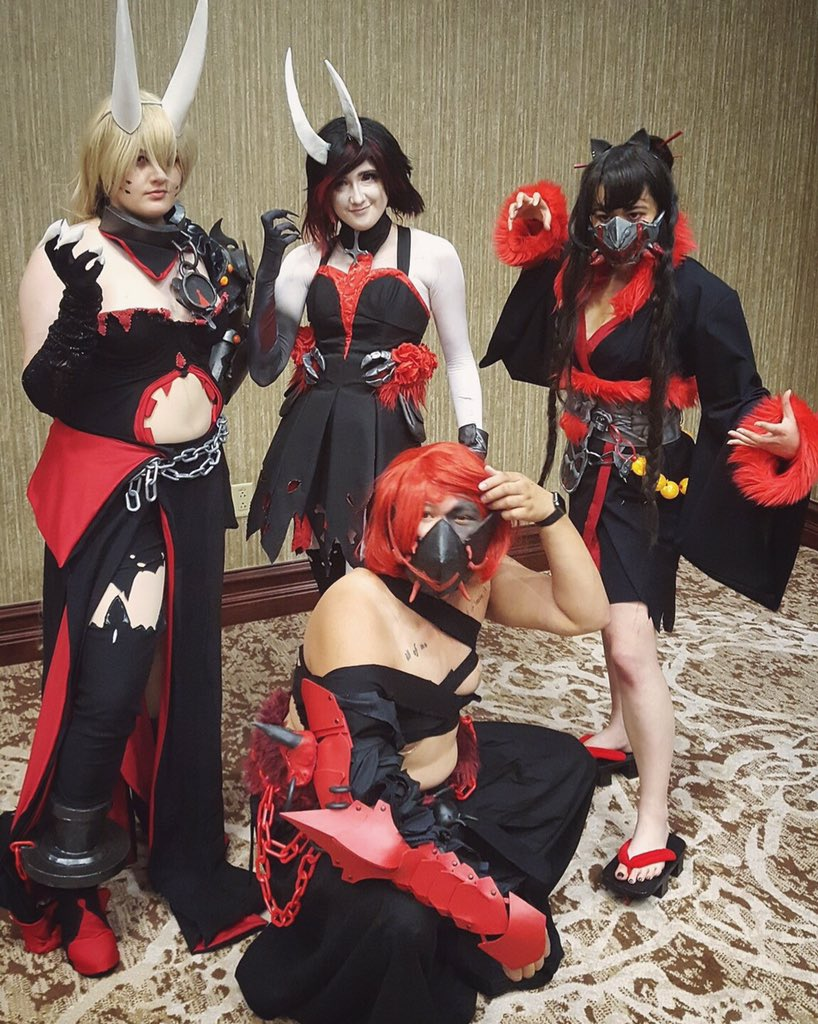 I realize that haven't posted a ton of Grimm RWBY!  The photos are coming!  Heres a photo that Matt got of our group at the Cookie Party!  Yang: @qrowbars  Blake: @Saunwolfgirl  Adam: @zombiehuntercpp  Concept based on art by @dishwasher1910  📷 @Null064