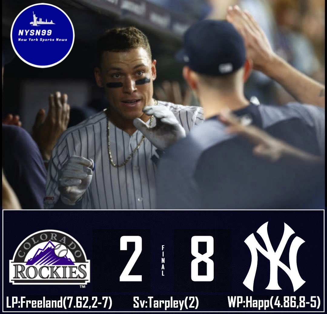 The Yankees beat the Rockies 8-2! #yankeeswin #yankees