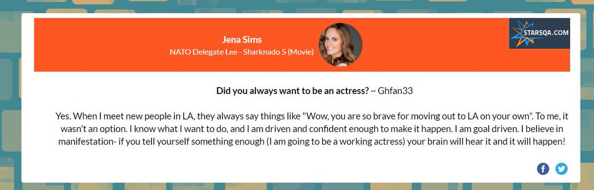 #starsQA  @jenamsims answers this question DID YOU ALWAYS WANT TO BE AN ACTRESS?    Ask her your question: https://t.co/tmAinMD1oT https://t.co/t2CEPJnoXt