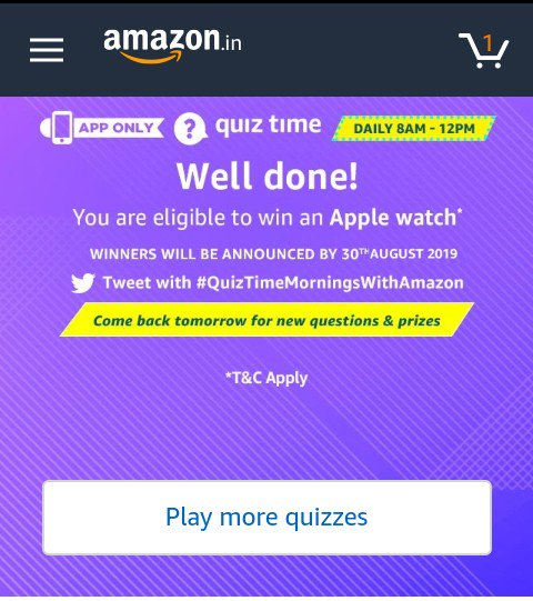 #QuizTimeMorningsWithAmazon #Amazon  /hope to win today prizes. <br>http://pic.twitter.com/zmDxEZlNst