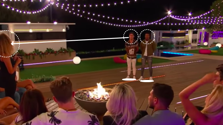 Youve got to be careful not to shoot out of the defensive line in instances like this. For me, the lads are a little tight to each other here. Greg does well not to eyeball Amber too hard. You want eye contact, not big serial killer vibes. A player of Gregs calibre knows this.