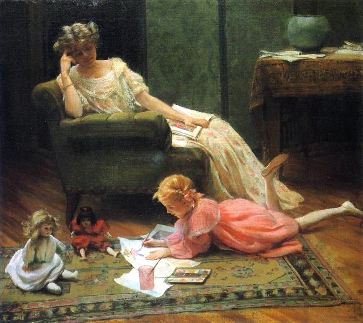 Charles Courtney Curran - Dolly's Portrait,1909 <br>http://pic.twitter.com/rP5LB3iPvW