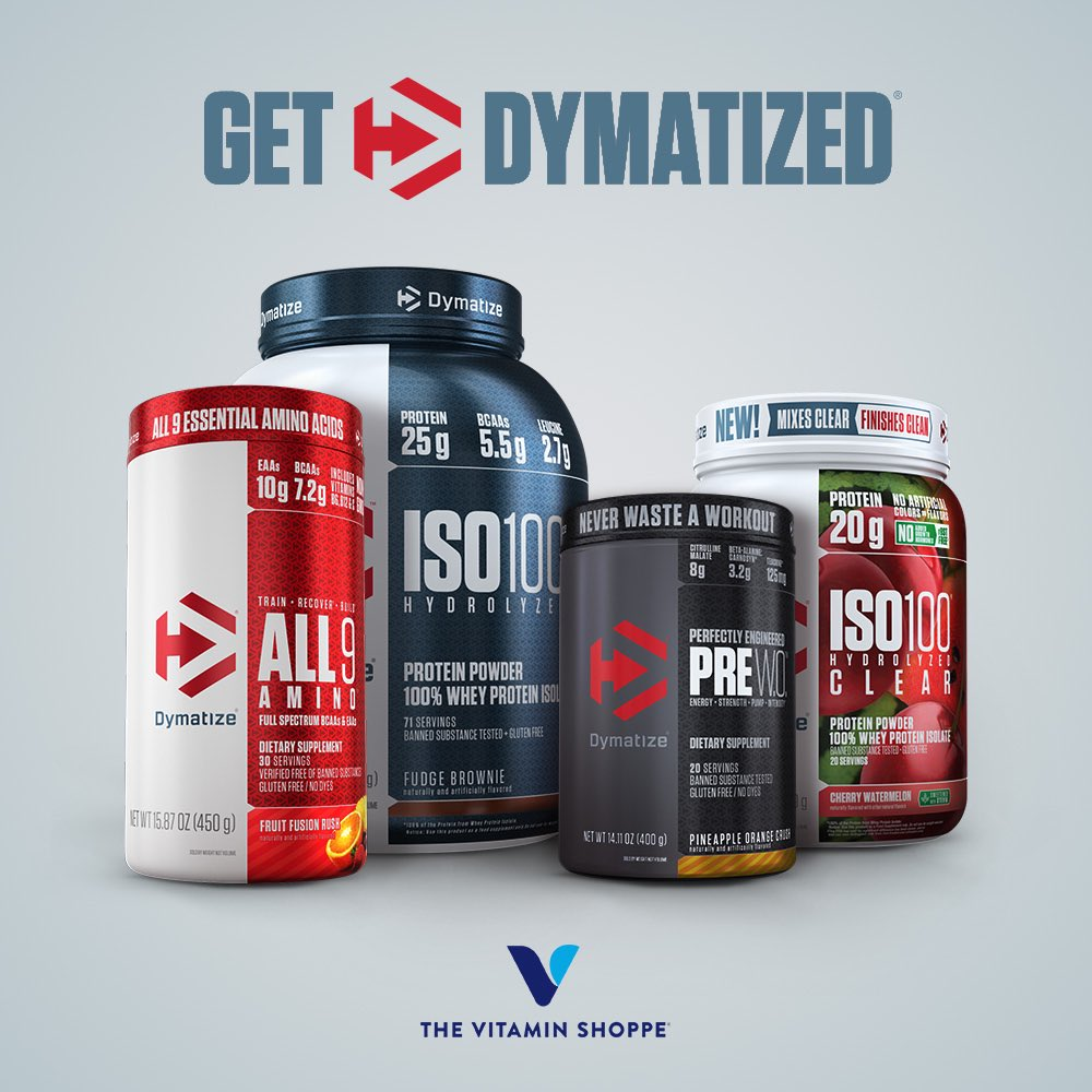 Your favorite Dymatize products are 20% off at @vitaminshoppe in store and online! Click to shop now http://bit.ly/vsDymatize