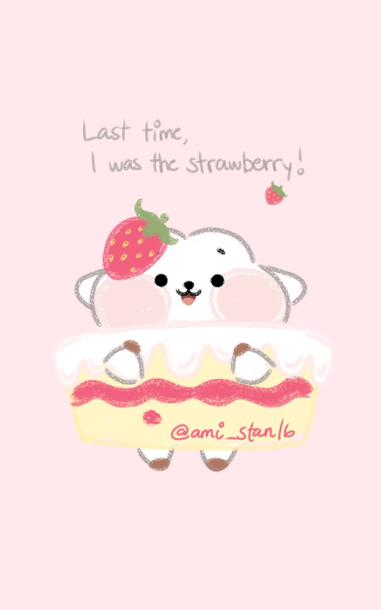 RK in the strawberry cake bc the tl needs it 🍓🍰 #RK #BT21 #BT21fanart