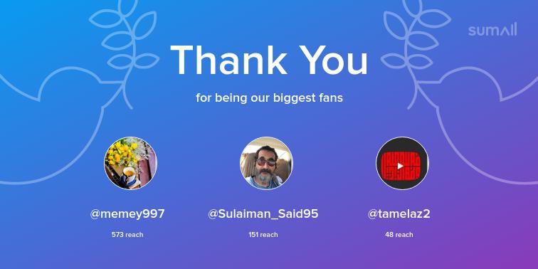Our biggest fans this week: memey997, Sulaiman_Said95, tamelaz2. Thank you! via https://sumall.com/thankyou?utm_source=twitter&utm_medium=publishing&utm_campaign=thank_you_tweet&utm_content=text_and_media&utm_term=5c0db0a660de9e1f85fb7859…