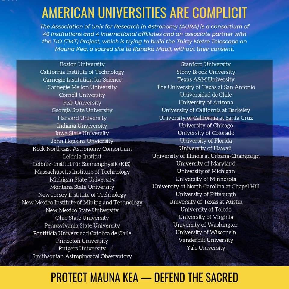 Is your college funding the #TMT if so, get them to divest and protect #MaunaKea #ProtectMaunaKea<br>http://pic.twitter.com/XUAB1dQkkM