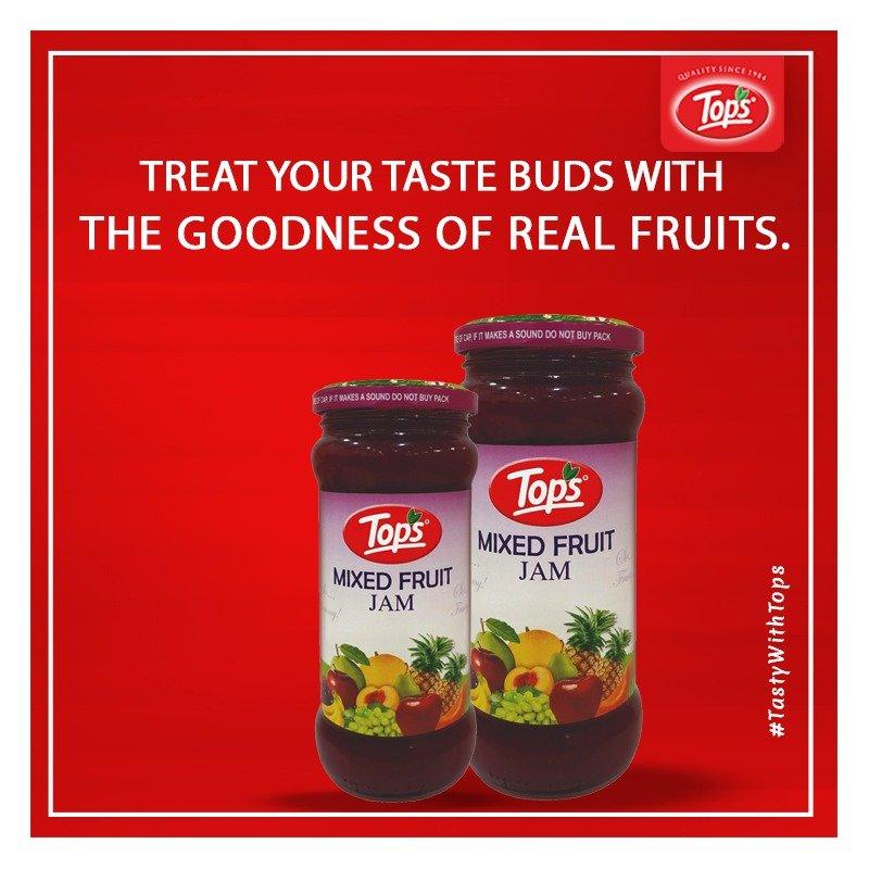 Treat your taste buds with the goodness of real fruits. . . #TopsSocial #Jams #TastyFood #Foodlovers #MixfruitJam #HealthyBhi #TastyBhi #Foodgasm