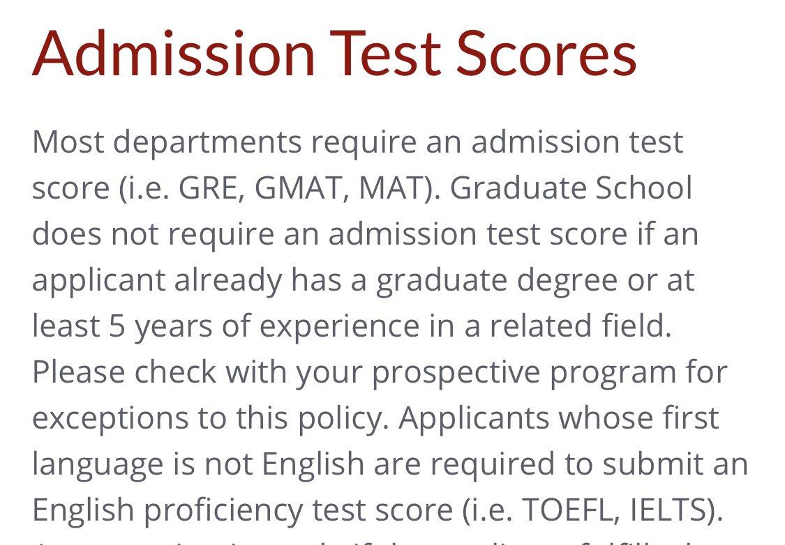 Admission Test scores