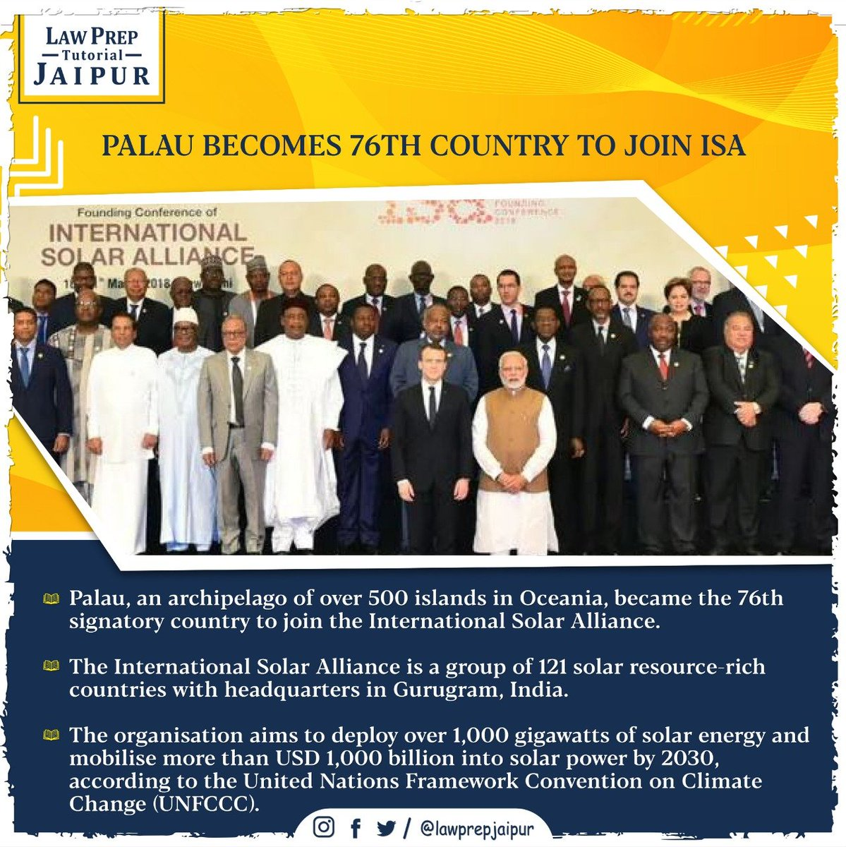 Stay connected for more such Current Affairs.  #Gk #CLATGK #CLAT2020 #CLATQuestions #currentaffairs #LegalGk #PALAU #ISA #InternationalSolarAlliance