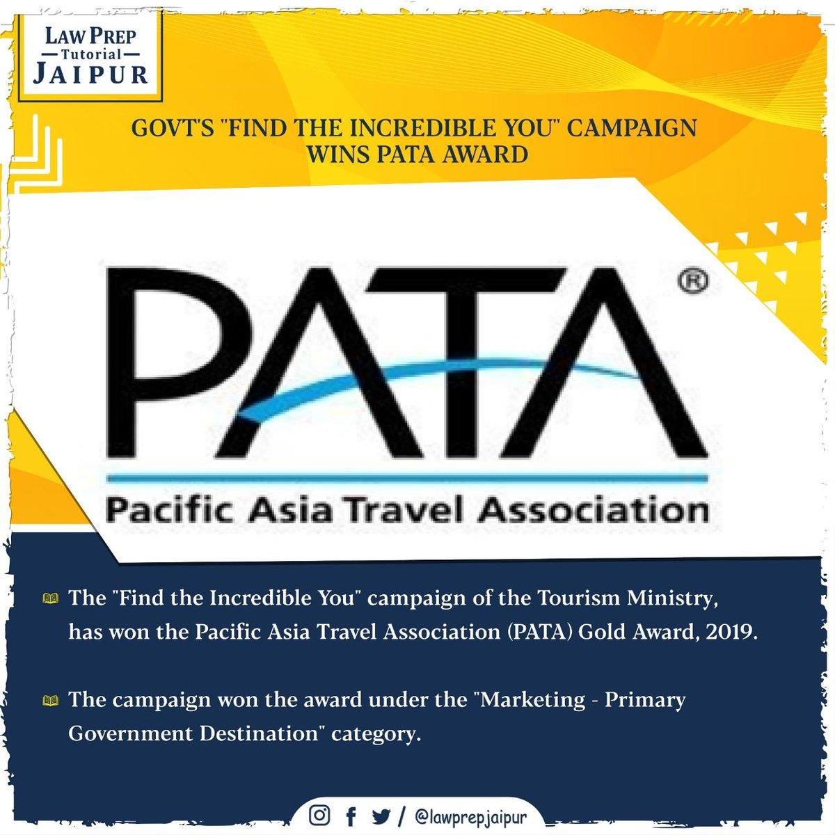 Stay connected for more such Current Affairs.  #Gk #CLATGK #CLAT2020 #CLATQuestions #currentaffairs #LegalGk #PATA #PacificAsiaTravelAssociation #IncredibleIndia #IndiaTourism