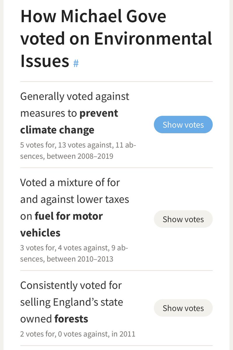 Catching up on #WarOnPlastic shocking that when @HughFW confronted Michael Gove he didn't have a clue about it all. Considering he's the Secretary of State for Environment 🙃 Then you look at his voting record evolving around the environment and it's shocking. 🌍