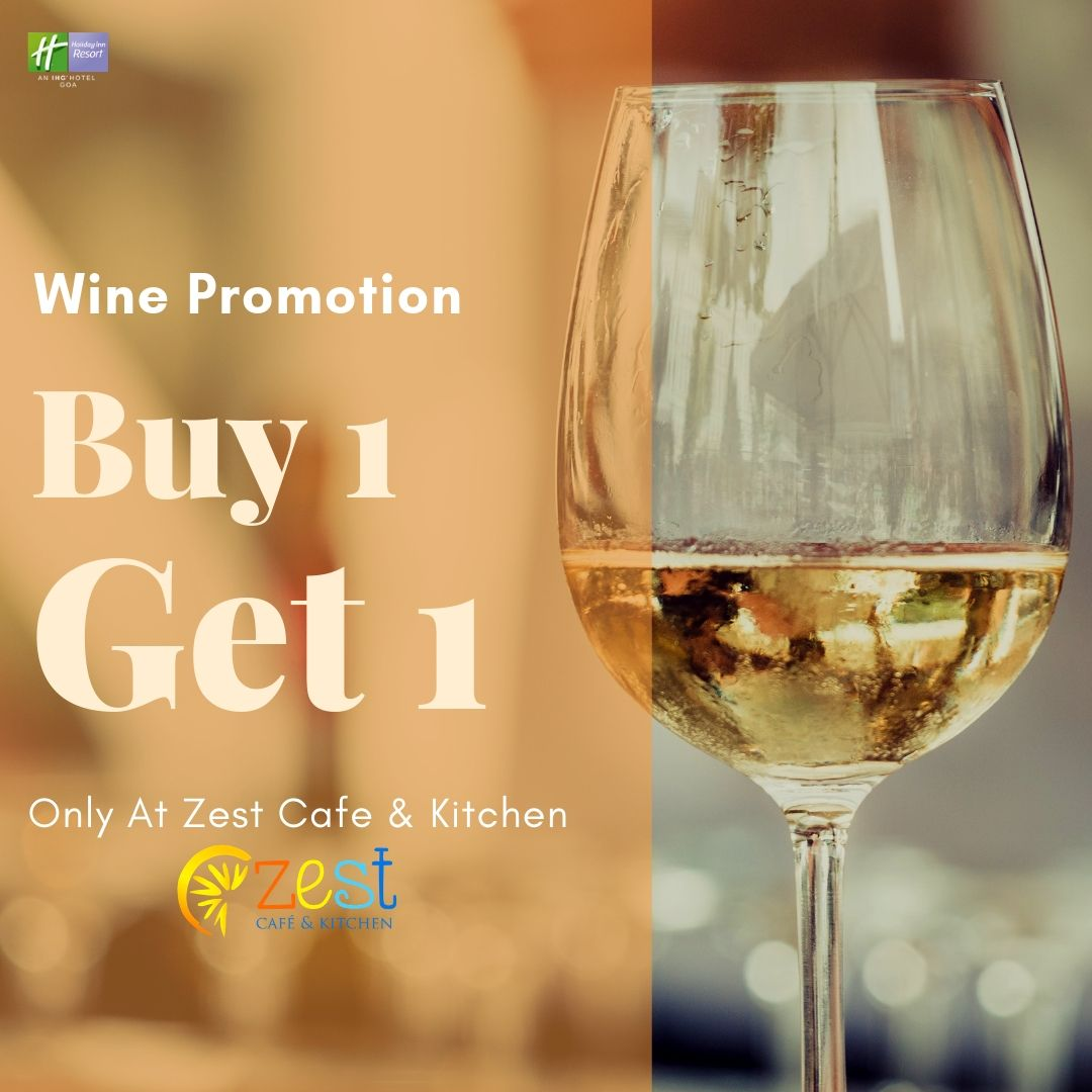 Choose from the wide variety of national and international wines available only at Zest Cafe & Kitchen! To know more, please log into:  http://www.holidayinngoa.com   #holidayinngoa #wine #wineselection #choose #wineglass #redwine #whitewine #vineyards #buyonegetonefree #buy1get1