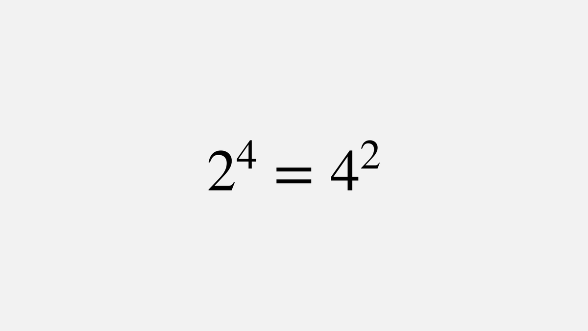 2⁴ = 4² is the only positive integer solution of aᵇ=bᵃ, assuming that a≠b.