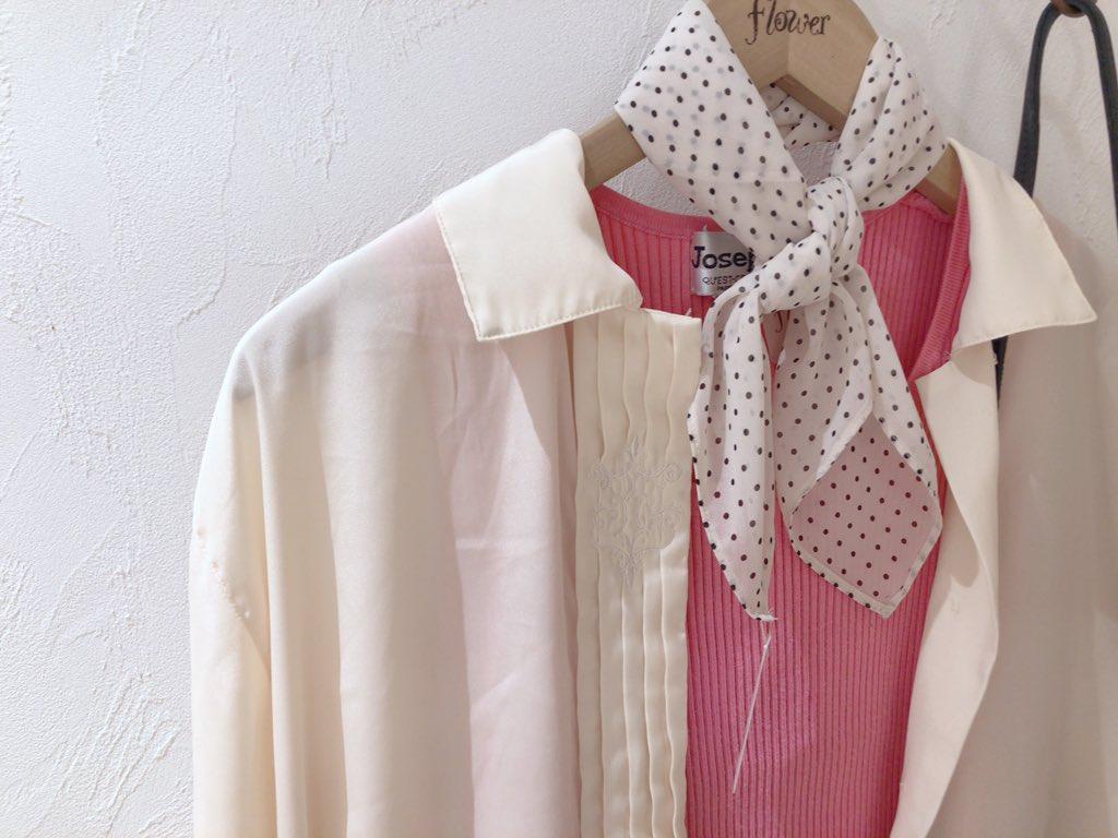 #flower福岡店  テロっとした素材で抜け感 バッチリなシルクシャツ❤︎ スカーフを合わせて首回りにも ポイントを⭐️  通販&お問い合わせ☏0924062734