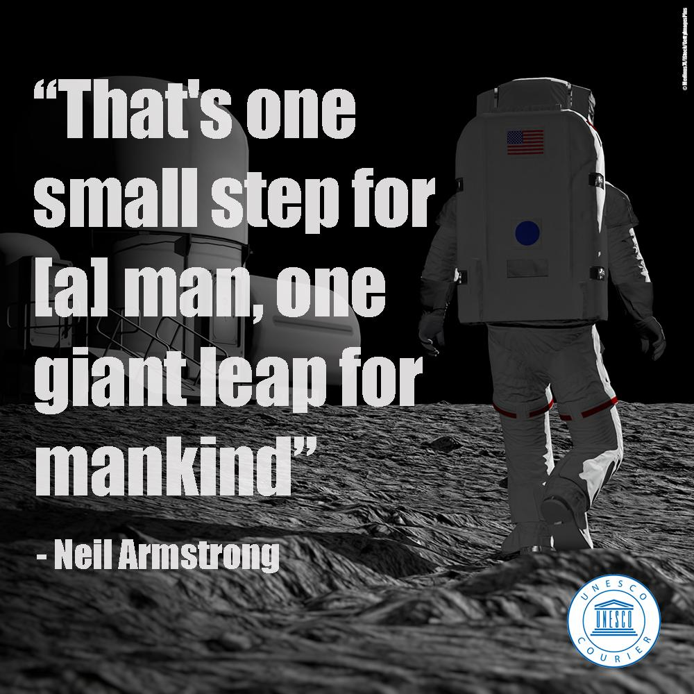 #OnThisDay, 50 years ago, an old dream came true between 20 - 21 July 1969, when the two American astronauts, Neil Armstrong and Buzz Aldrin, became the first men to set foot on the Moon.  🚀 @UNESCOCourier 👉 https://on.unesco.org/2Iq1W2t 🌝