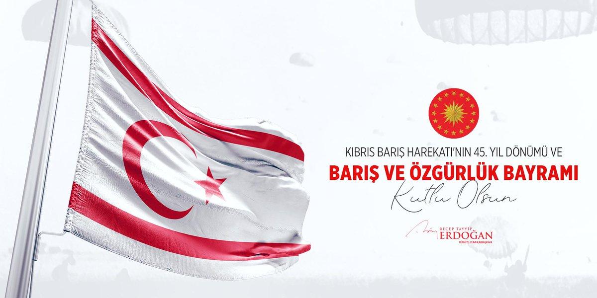 Kıbrıs Türk Halkı'nın Barış ve Özgürlük Bayramı'nı en kalbi duygularımla kutluyorum.   Milli davamız uğruna canlarını veren aziz şehitlerimizi rahmet ve minnetle, gazilerimizi şükran ve saygıyla yâd ediyorum. #KıbrısBarışHarekatı