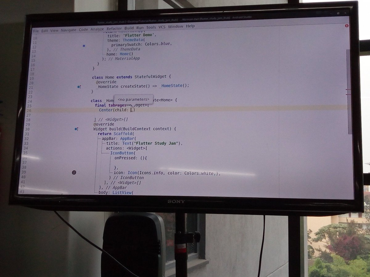 Of #Flutter widgets at the @GDG_Nairobi  and @254androiddevs  Flutter study jam <br>http://pic.twitter.com/GRXJxhDaq4