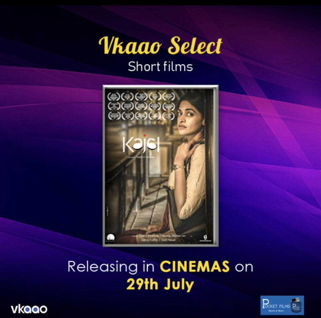 A #womansjourney to finding herself starts in an unlikely place. Watch 'Kajal' directed by @PaakhiATyrewala starring @salonyluthra as part of the #anthology of #shortfilms to be screened in @_PVRCinemas 5 Indian cities. Tickets : http://bit.ly/VkaaoSelectShortFilms… #pocketfilms #letsvkaaopic.twitter.com/OinDdi9lmk