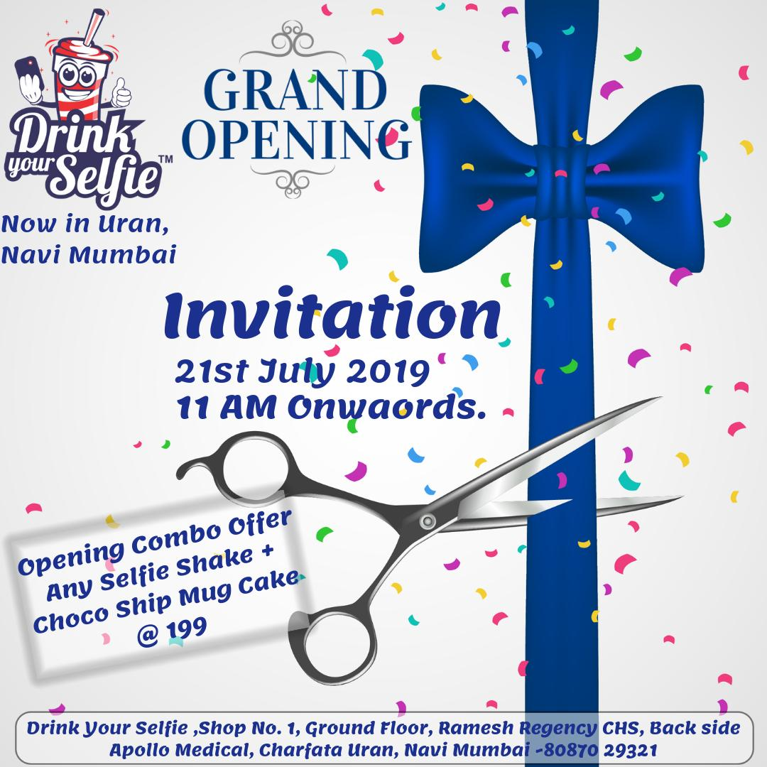 Happy to announce that Drink Your Selfie Family expands to Navi Mumbai, Maharashtra. After entertaining the crowds of Pune & Solapur, It's time to enthrall the audience of Uran with our unique & innovative Selfie Shakes. #DrinkYourSelfie #GrandOpening #Tommorow #Uran #NaviMumbai