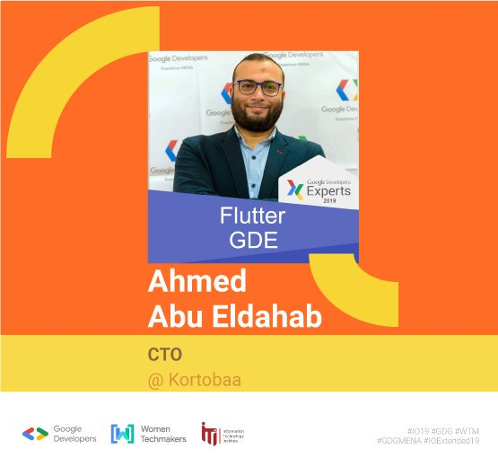 "Welcome @dahabdev 🙌 in ""Flutter Beyond Hello World!"" session 🎉Ahmed is a @GoogleDevExpert in Dart & Flutter, An Entrepreneur, Public speaker, Technology advocate, Web & Mobile consultant with +17 years of professional software engineering experience.#io19 #io19extendedCairo"