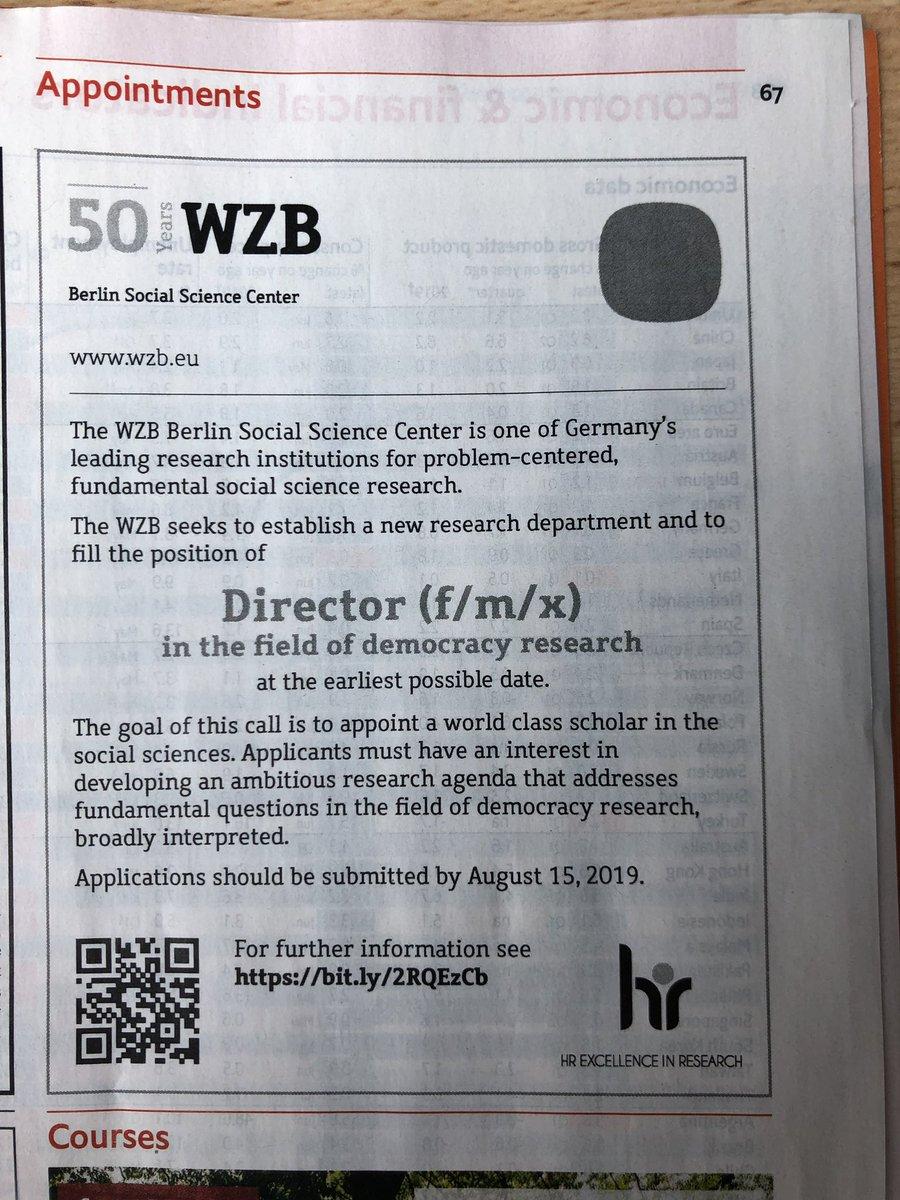 #CfA: Director in the field of Democracy Research @WZB_Berlin 🇩🇪. Deadline: August 15 https://wzb.eu/en/the-wzb/working-at-the-wzb/job-opportunities… #PoliSci cc @ECPR