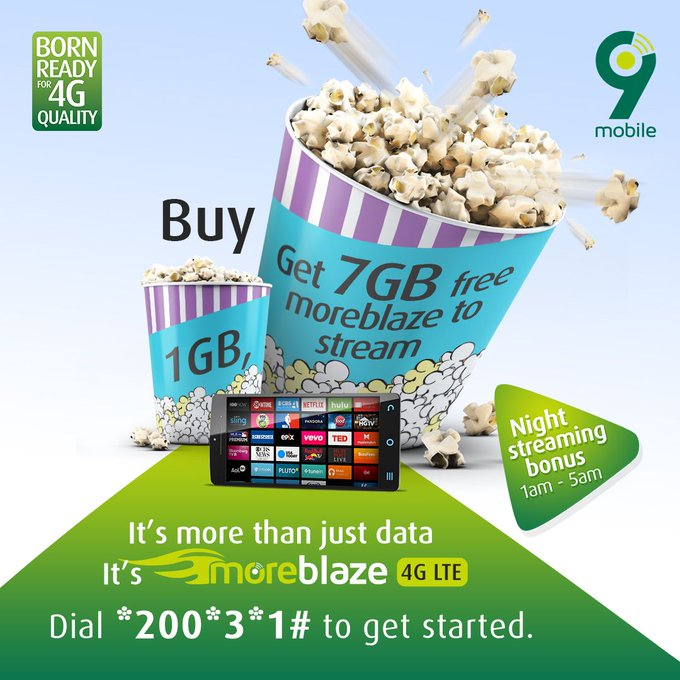 Buy 1 GB or more & get 7 gb free. dial *200*3*1# to get started.