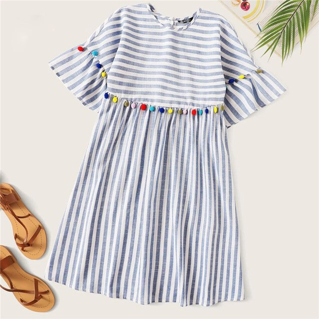 Cute Blue Colorful Pompom Detail Striped Smock Boho Dress 😍😍😍 #boho #striped #smock #blue #Tunic #dress