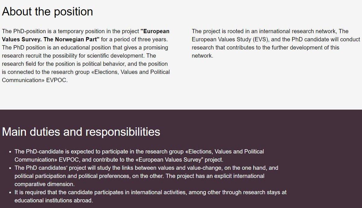 #CfA: PhD Candidate in Political Behavior in project '@evs_values The Norwegian Part' @NTNU 🇳🇴. Deadline: August 23 https://www.jobbnorge.no/en/available-jobs/job/172882/phd-candidate-in-political-behavior… #PoliSci