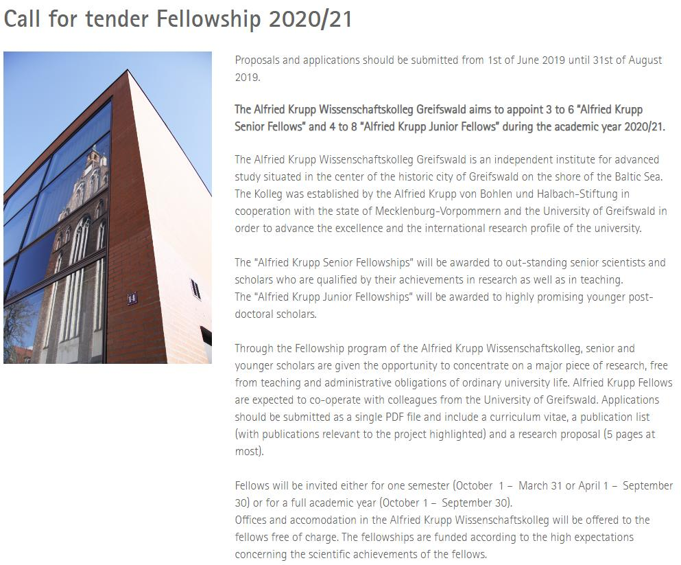 #CfA: Junior & Senior Fellows of ANY discipline and from ANY country at Wissenschaftskolleg Greifswald 🇩🇪. Check @wissen_lockt's Institute for #PoliSci and Communication Studies for cooperation as well (e.g. @marthakuhnhenn @jajuenger). Deadline: August 31 https://www.wiko-greifswald.de/en/fellows/alfried-krupp-fellowships/call-for-tender-fellowship/…