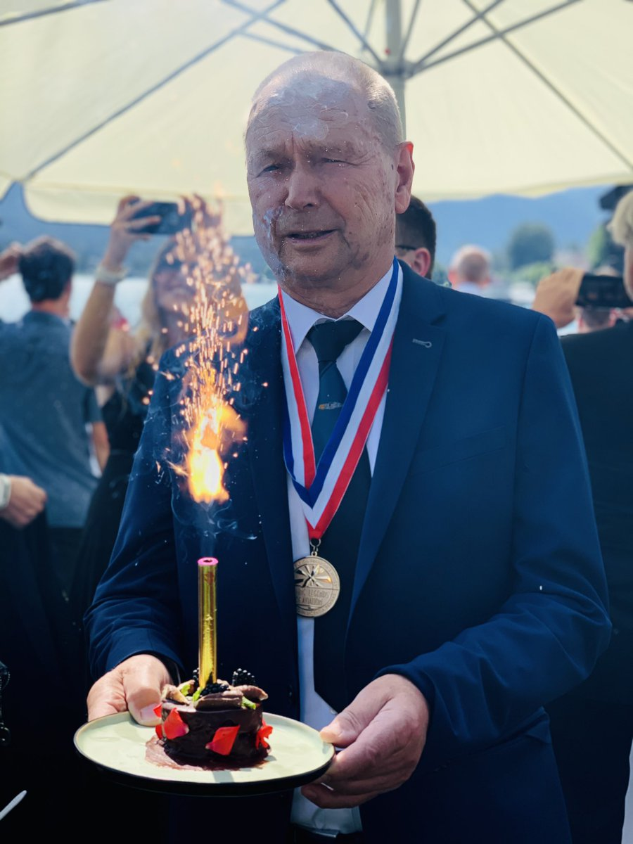"""Happy 83rd, Walter Eichhorn! 🎂   A """"Living Legend"""" celebrated his birthday today in style - at the 2019 Living Legends of Aviation event at #Wolfgangsee 🇦🇹. Walter was a longtime @Lufthansa pilot & still is one of the most renowned warbird pilots worldwide. #wemakeitfly"""