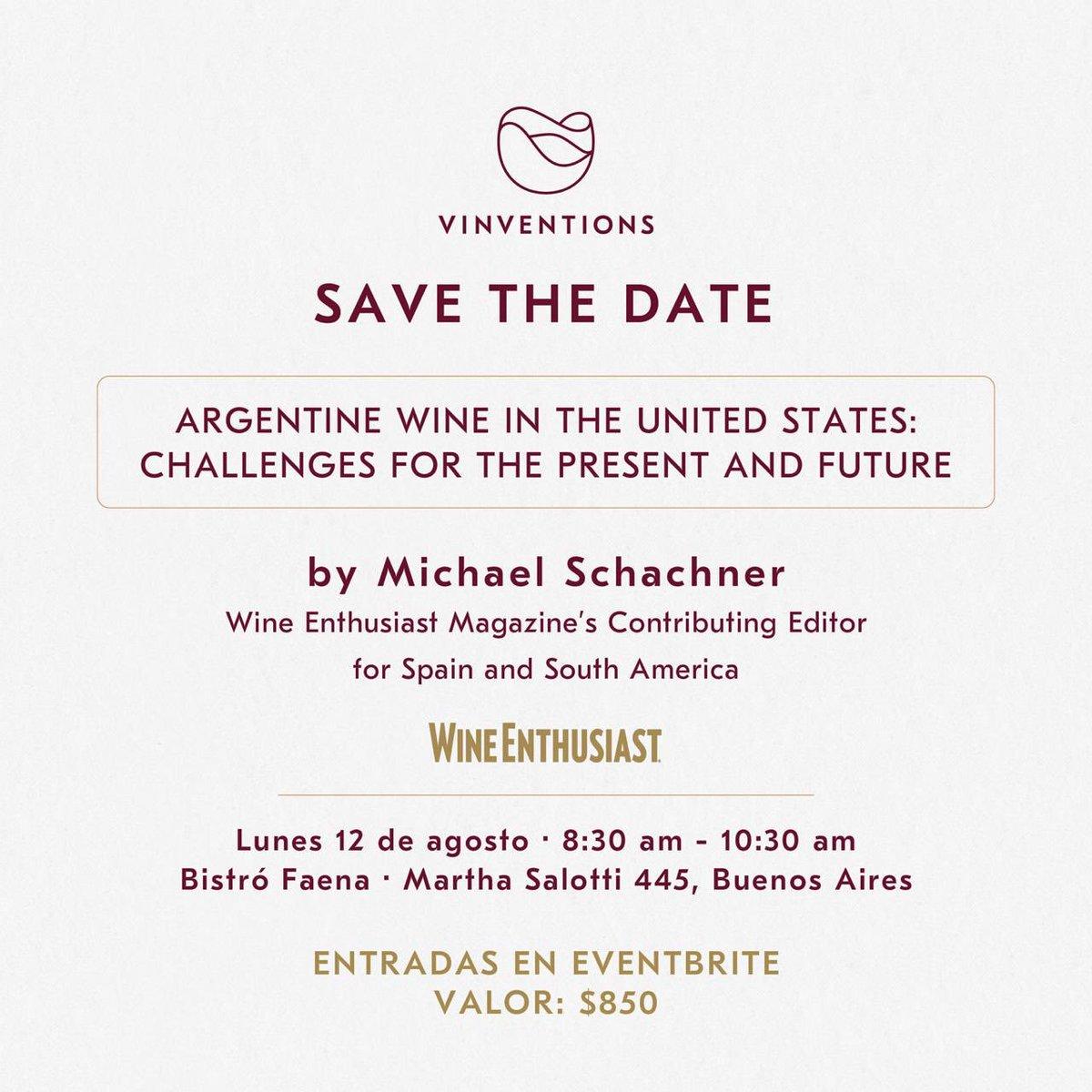 Gran evento en BA! @wineschach, editor para Sudamérica de @WineEnthusiast visitará Argentina para la @PremiumTasting. En este marco, realizamos un evento para que Michael comparta su visión sobre el futuro del vino argentino en EEUU 🍷🇺🇸🇦🇷