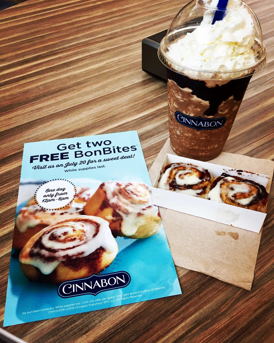 Just went to @Cinnabon at @SpotsylvaniaTC to grab my two FREE #BonBites, along with buying a #DoubleChocolateMochaChillatta! What a nice treat! I'm closer to earning a FREE Chillatta! #LifeNeedsFrosting #Cinnabon #DoubleChocolateMocha #Chillatta #NiceTreat <br>http://pic.twitter.com/hRvUpkaZ8y