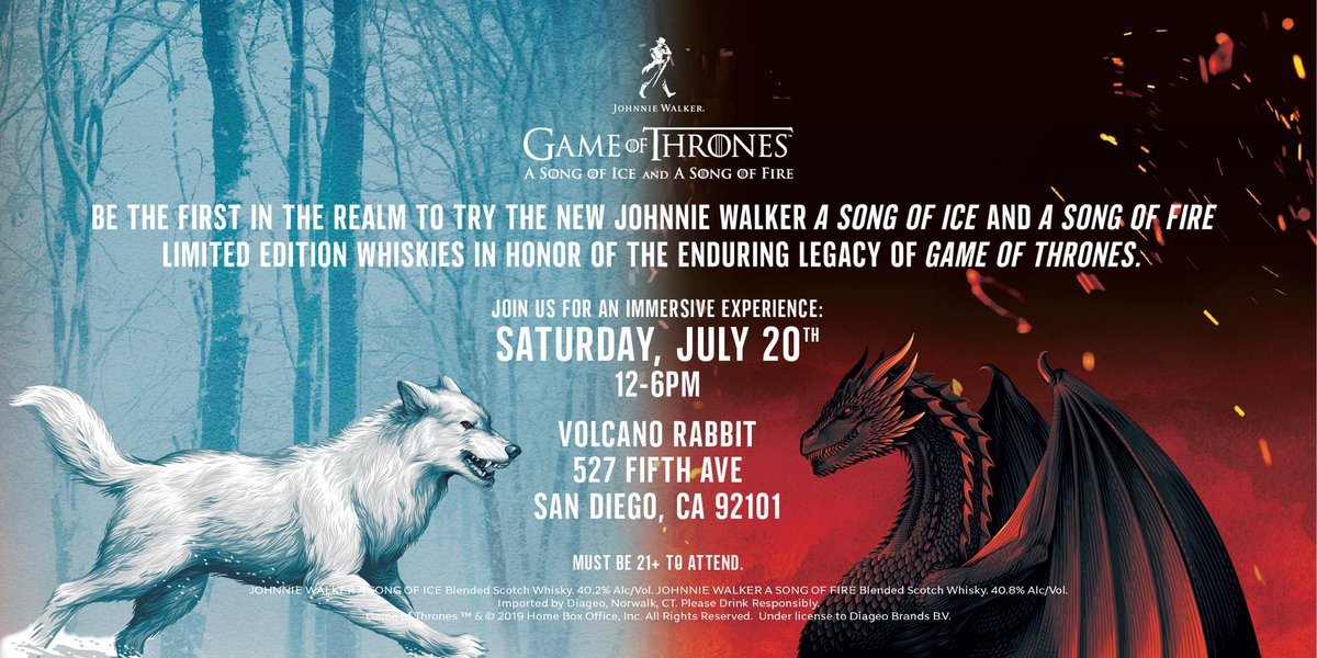 #ad Be sure to check out the new @johnniewalkerus 'Game of Thrones'-inspired whiskeys at a pop-up event in San Diego this Saturday #JWSONGOFICE #JWSONGOFFIRE<br>http://pic.twitter.com/GmH892Pg2W
