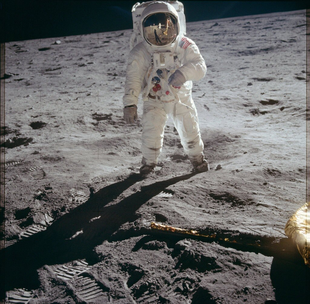 50 years ago today the man in this photo, Buzz Aldrin, walked on the moon...the MOON!!! It's still the most amazing thing ever!. I was fortunate to play him in a mini series 20 years ago, so from faux Buzz to @TheRealBuzz - well done, sir, and God Speed.
