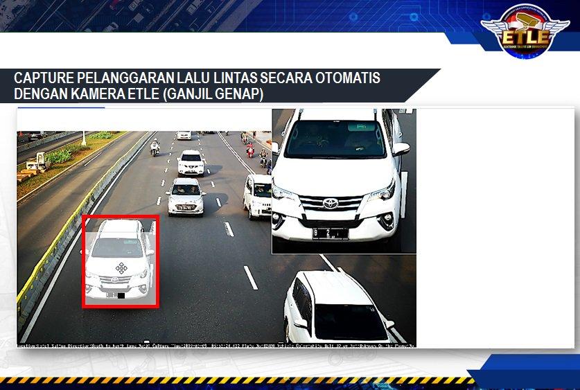 Pelanggaran lalu lintas (Ganjil Genap) secara otomatis dengan kamera E-TLE.Mari bersama-sama tertib berlalu lintas.