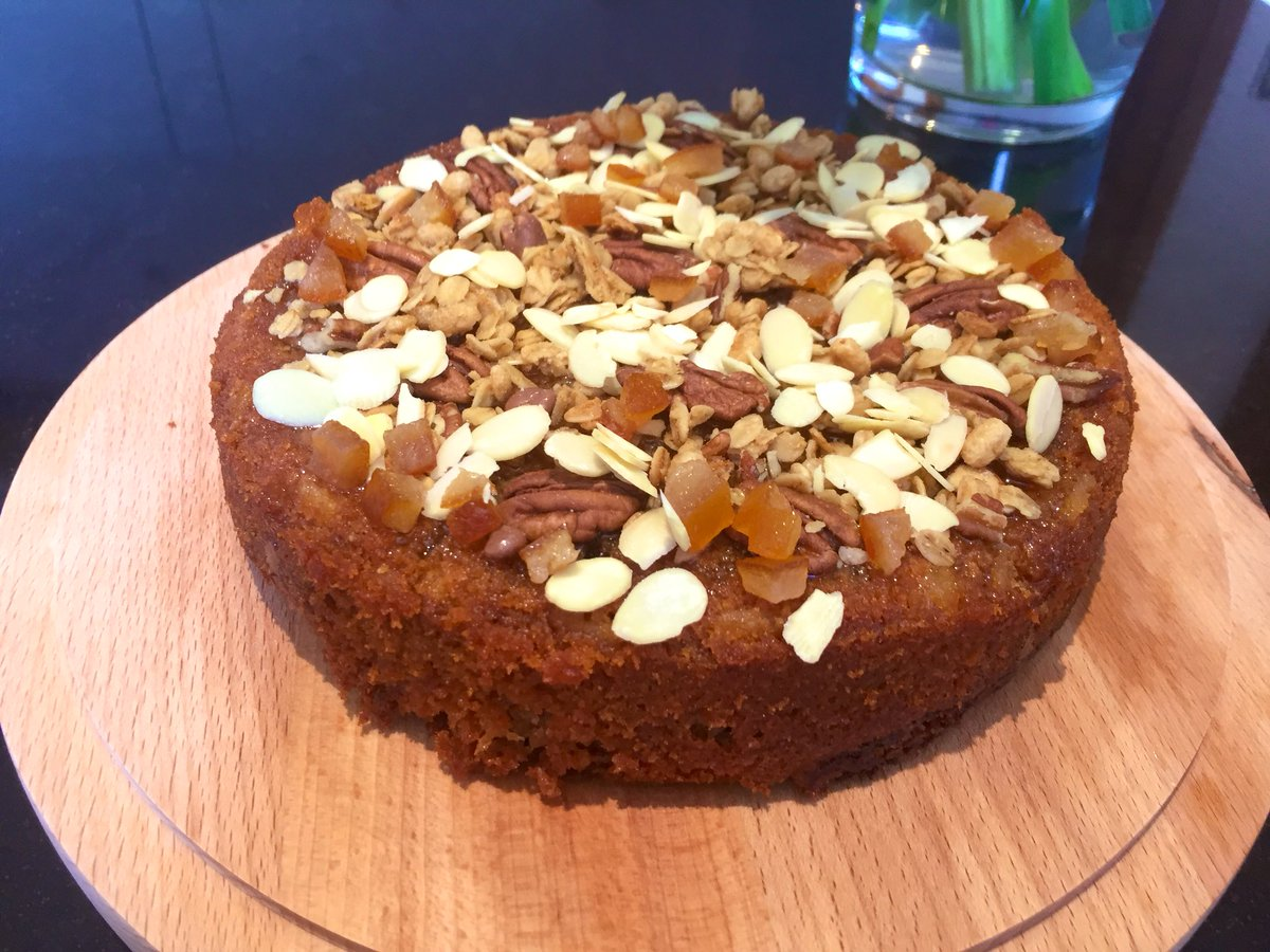 I've made this Orange Blossom Honey and Nut cake for my neighbour  Sadly his wife died 3 weeks ago and she was an excellent baker, this being one of her recipes she shared with me  I'm hoping he will enjoy it with a nice cup of tea, she told me this was his favourite x <br>http://pic.twitter.com/j7LTfTLyrh