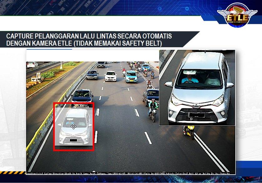 Pelanggaran lalu lintas (tidak menggunakan safety belt) secara otomatis dengan kamera E-TLE.Mari bersama-sama tertib berlalu lintas.