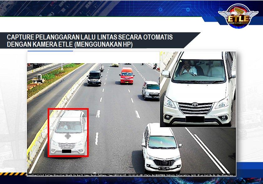 Pelanggaran lalu lintas (menggunakan HP) secara otomatis dengan kamera E-TLE.Mari bersama-sama tertib berlalu lintas.