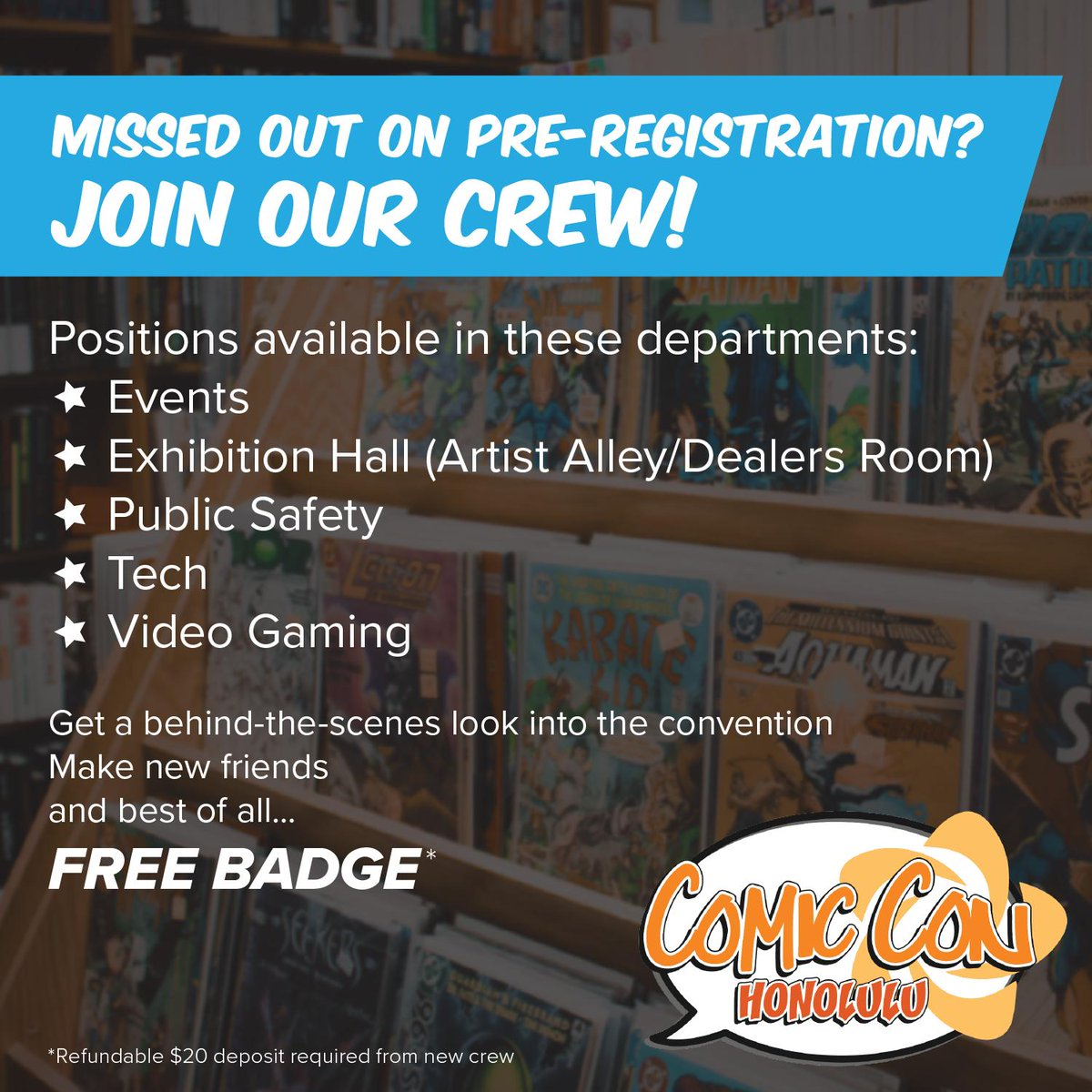 Comic Con Honolulu is still accepting volunteers for the 2019 convention! Tag a friend who might be interested before the application closes on 7/26!  https://t.co/0hnjDRJHvx https://t.co/jTmrzrROQA